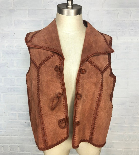 70s Suede Leather crochet vest with wide lapel