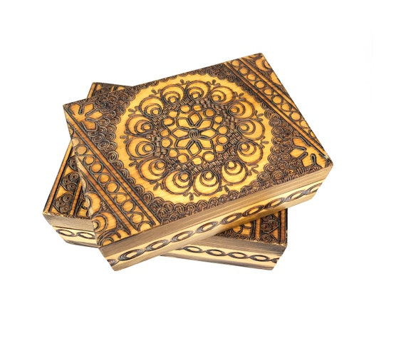 Set of two Polish hand-carved wood boxes | Polish