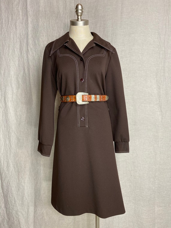 Vintage 1970s Western brown double knit shirt dres