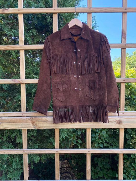 Vintage Leather Fringed Western Pioneer Jacket si… - image 1
