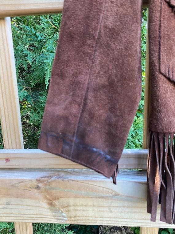 Vintage Leather Fringed Western Pioneer Jacket si… - image 8