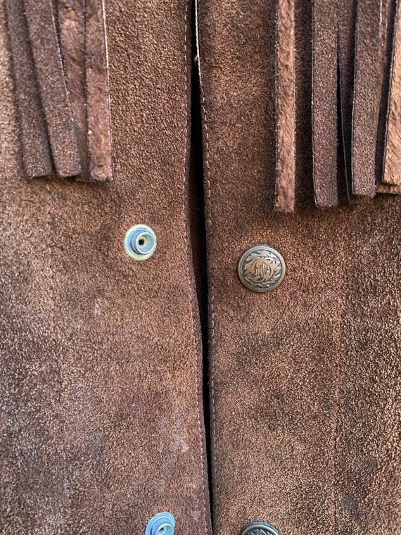 Vintage Leather Fringed Western Pioneer Jacket si… - image 9