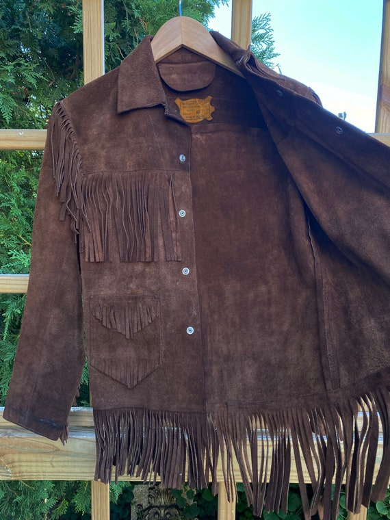 Vintage Leather Fringed Western Pioneer Jacket si… - image 3