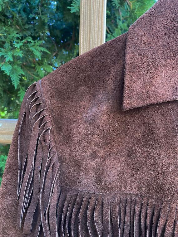 Vintage Leather Fringed Western Pioneer Jacket si… - image 7