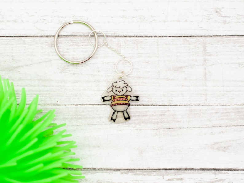 Personalized keychain Planner charm Lamb custom keychain Sheep lover gift Little lamb charm Mindfulness gift Sheep gifts