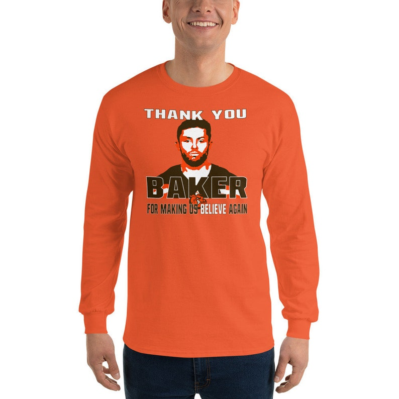 premium selection 134ac 3457c Thank You Baker Mayfield Cleveland Rookie Browns Quarterback Long Sleeve  Dawg Pound Fan T-Shirt