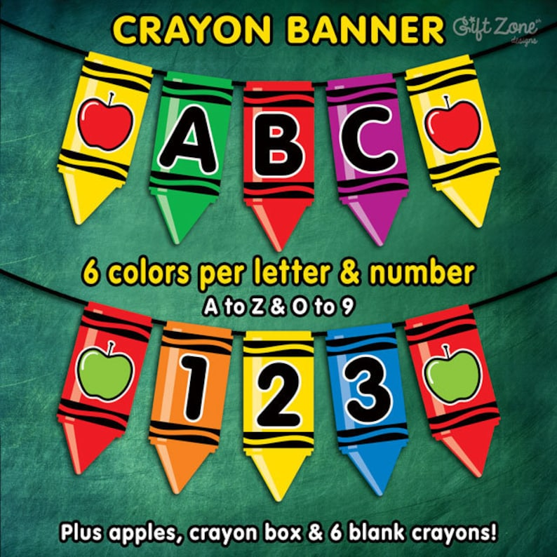 photograph relating to Crayon Printable identified as Printable Crayon Banner Finish Alphabet Quantities Back again in direction of College Banner  Birthday Banner Crayon Printable Prompt Electronic Down load