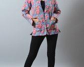 Designer Reversible Kantha Quilted Jacket - Floral Design Bohemian Gypsy Jacket - Indo Western Jacket - Winter Fashion - Kantha Stitches