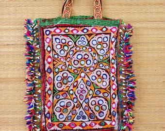 6b871af7b6d1 Rabari Embroidery Vintage Mirror Work Theli Bag - Gujarati Traditional  Banjara Handbag - Multicolored Kutchi Work Tote Bag - Handmade Theli