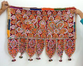 0c27986909 Cotton Hand Embroidered Vintage Toran - Mirror Work Multi Colored Home  Decor - Desiner Banjara Door Hanging - Kutch Handcraft - Wall Decor