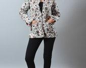Reversible Kantha Quilt Jacket - Floral Design - Handmade Jacket - Ladies Fashion Wear Indo Western Jacket - Winter Wear Kimono Jacket -Boho