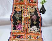 Vintage Bohemian Rabari Shawl - Traditional Gujarati Dhabdi - Kutch Hand Work Shawl - Multi Colored Mirror Work Stole - Woolen Shawl