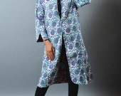 Cotton Long Kantha Jacket - Floral Design Indo Western Jacket - Overcoat - Reversible Quilted Jacket - Hand Block Print - Kantha Stitches