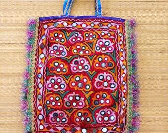 5661513f4451 Indian Banjara Handmade Theli Bag - Traditional Kutchi Mirror Work Bag -  Boho Gypsy Fringe Theli - Multicolored Vintage Gujarati Tote Bag