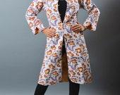 Reversible Long Kantha Quilted Jacket - Floral Design Over Coat - Indo Western Jacket -Fashion Wear Kimono Jacket-Boho Gypsy Handmade Jacket