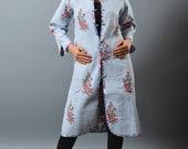 Boho Hippie Jaipuri Print Long Kantha Jacket - Quilted Jacket - Indo Western Long Jacket - Ladies Fashion Boho Jacket - Overcoat - Handmade