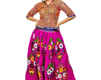 296eb31a97 Floral Design Embroidery Bohemian Blouse - Kutchi Skirt - Colorful Cotton  Thread Work - Mirror Work - Banjara Style - Hippie Gypsy Tribal