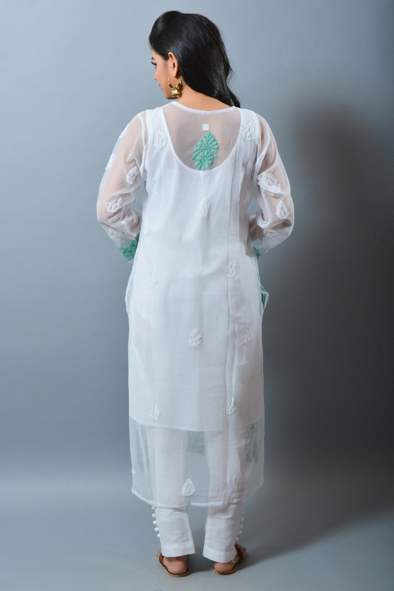 Indian Fashion Wear Designer Lucknowi Top Chikankari Dress Beach Wear Party Wear White Colored Top Chikan Embroidered Georgette Kurti