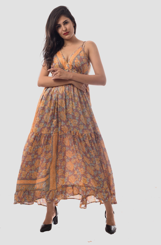 3588e0fbf46 Floral Printed Long Maxi Dress Summer Wear Designer Poly