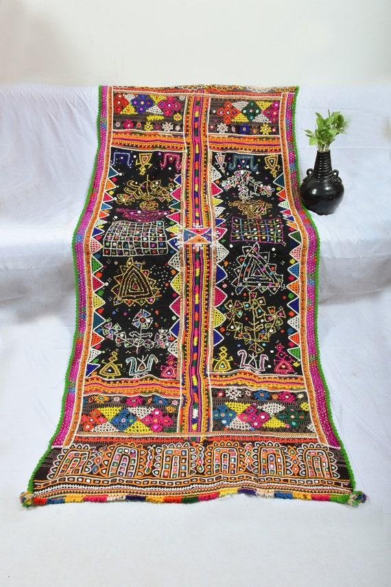 Specchio Lavoro & Ricamato Abbigliamento e accessori Vintage Banjara Rabari Lana Scialle e Throw
