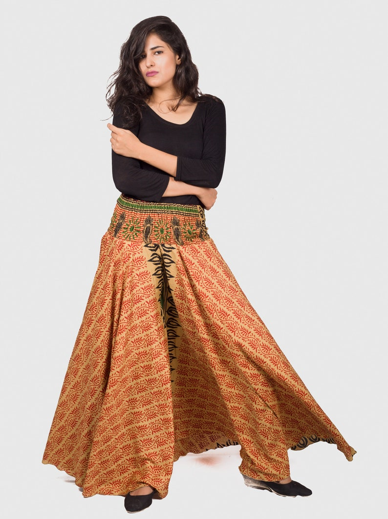 a1742ab49b Indian Fusion Style Umbrella Palazzo Skirt Pant Yoga Wear | Etsy