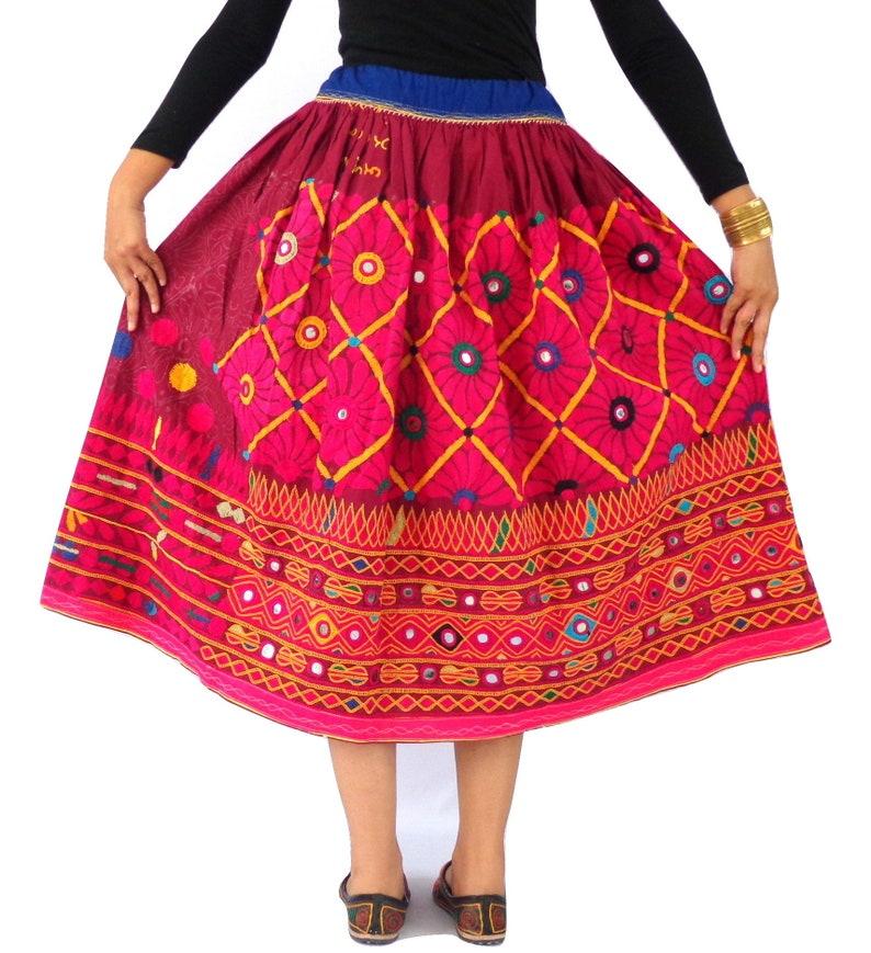37416cddbf Vintage Hippie Boho Hand Embroidery Skirt Kutchi Embroidery | Etsy