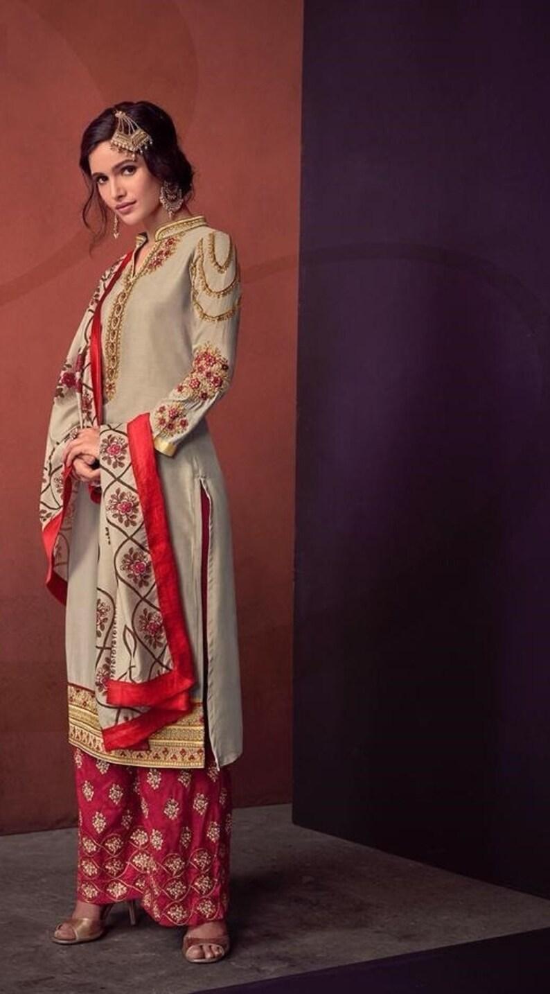 9babe64909 Designer Straight Cut Palazzo Suit Indian Palazzo Salwar | Etsy