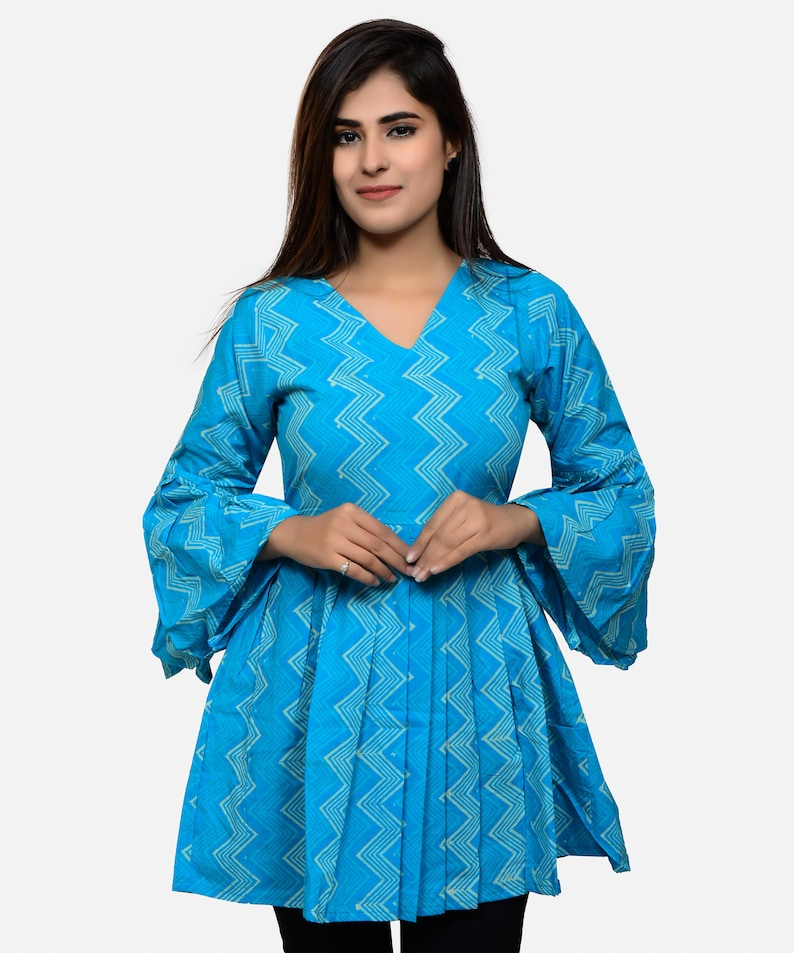 Other Women's Clothing Indian Vintage Hand Block Print Cotton Women Dress Kutri Traditional Long Top