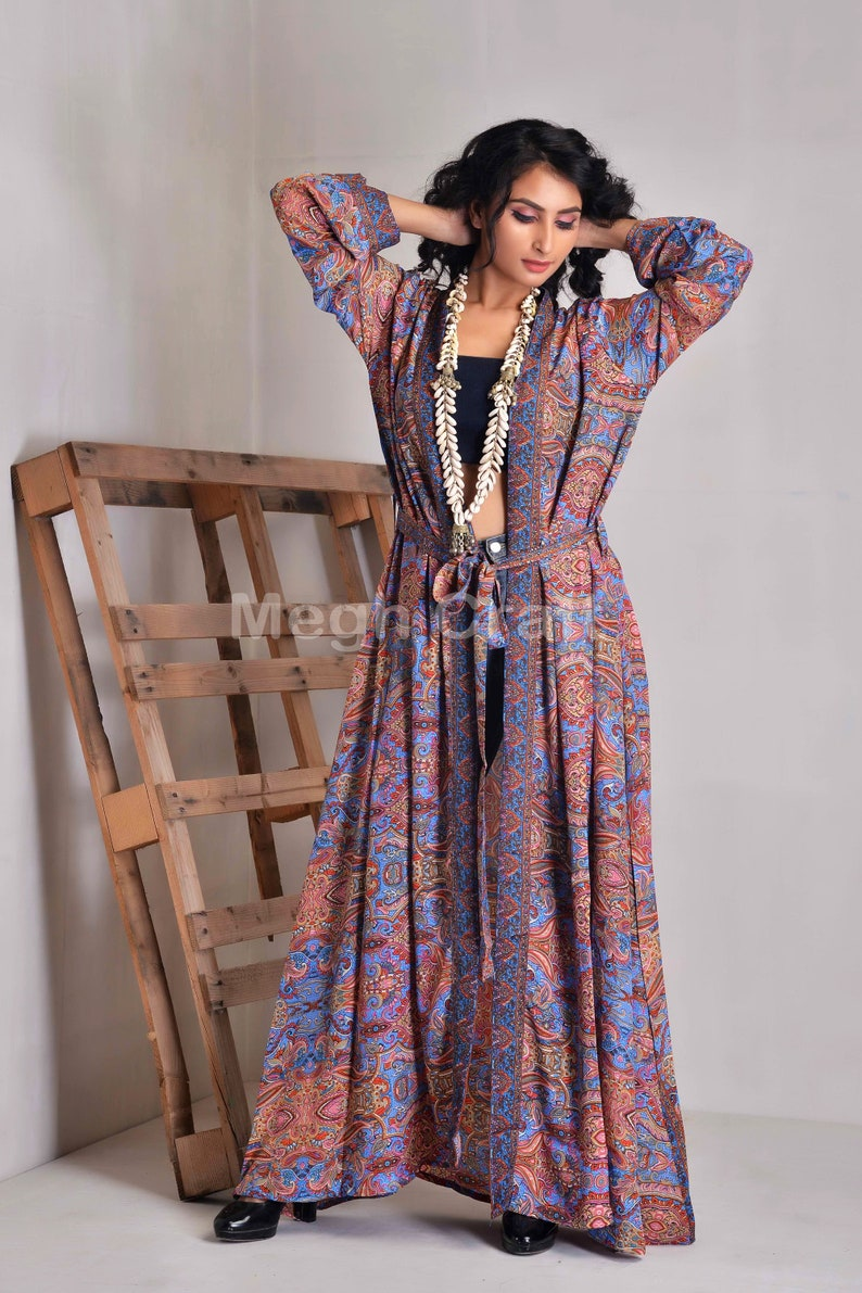 Boho Vintage Silk Sari Made Bikini Cover Up Beach Wear-Summer Wear Kimono-Women/'s Floral Design Silk Kimono-Sleepwear robe-Women/'s Bath Robe