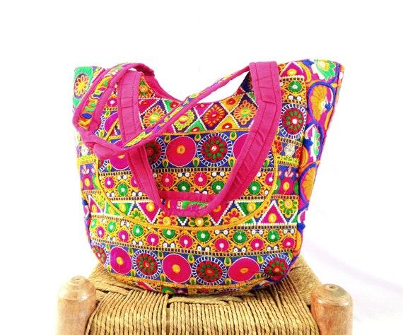 ebffa9cdfac7 Kutch Embroidery Vintage Shoulder Bag - Mirror Work Floral Hand Embroidered Tote  Bag - Women s Banjara