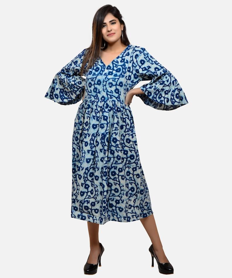 1c3cf036cf2a Indigo Floral Print Hand Block Print Kurti Fashion Wear | Etsy