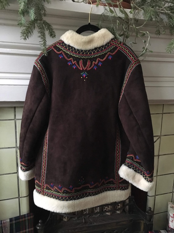 Embroidered Suede Shearling Coat