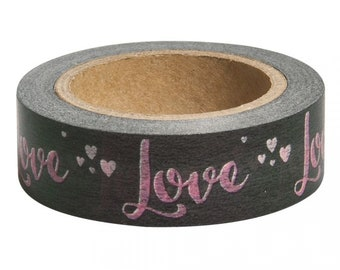 Washi Tape Sample 15mm x 1m Rosa Schriftzug Gold Blumen Cool Hello Love Nr.5