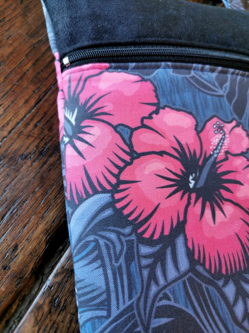 Messenger bag leather shoulder strap hibiscus and carnivorous plants