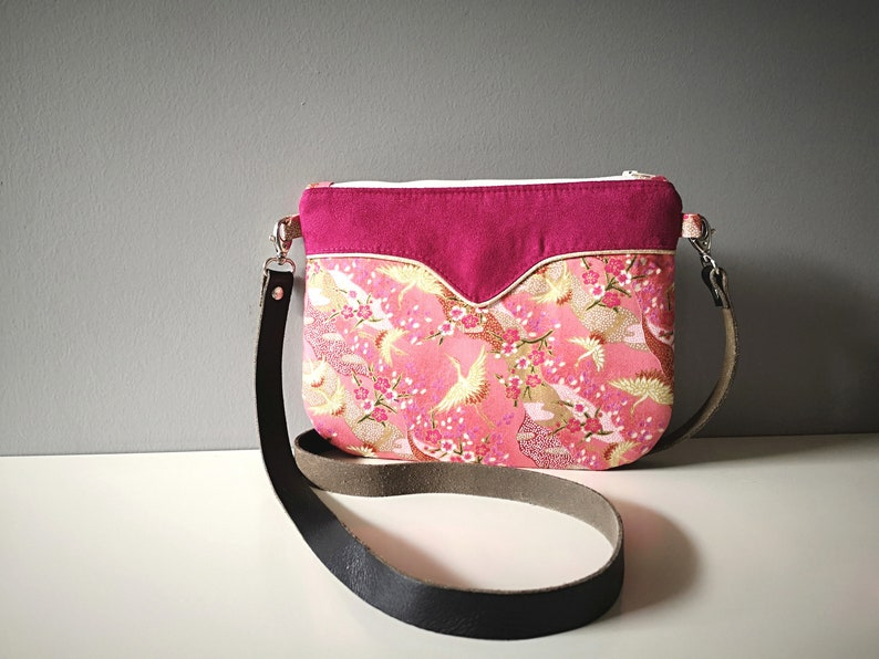 Small shoulder bag Japanese fabric cranes pink and gold image 0