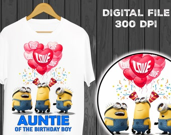 Auntie Minions Iron On Transfer Shirt Birthday Digital File Instant Download