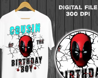 Cousin Deadpool Eisen Auf Transfer Hemd Geburtstag Shirt Digitale File Instant Download