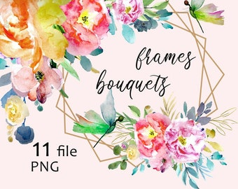 16a427d9370 Orange Pink Watercolor Floral Clip Art frames dragonfly with bright yellow  flowers roses bouquets ClipArt for DIY Invitation PNG Cards