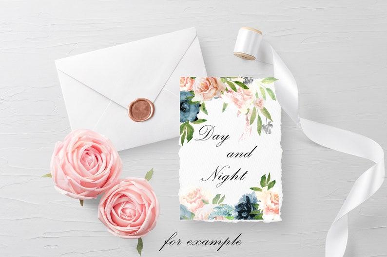 Navy /& Blush Watercolor Floral Clipart Frame Border Wedding Invite Design Indigo Blue Clip Art Pastel flower bouquet Commercial Use PNG