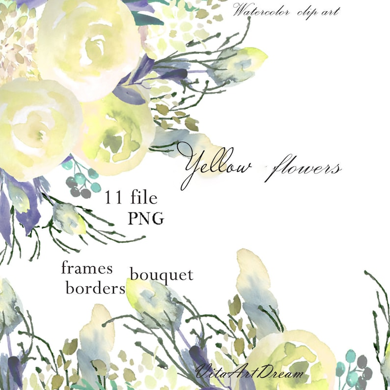 graphic about Watercolor Floral Border Paper Printable identified as Mild flower clip artwork Watercolor floral body Marriage border Png Invitation Template Graphics Yellow rose