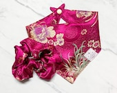 Tourmaline 4 Seasons Dog Bandana, Match with Owner, Bandana for Dogs, Chinese New Year Dog Bandana, Lunar New Year, Flower Dog Bandana