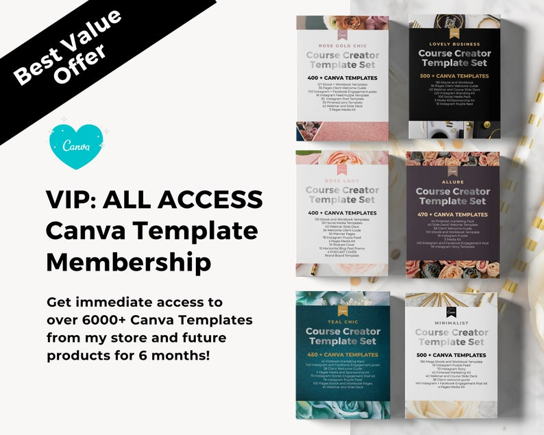VIP All Access Canva Templates  Canva Template Bundle Ebook image 0