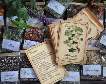 Witchcraft kit herb and 40 cards, 40 Wicca herbs, Magic ritual herbs, Book of shadows, Grimoire, Green witch herbs, Herb set, Wicca supplies