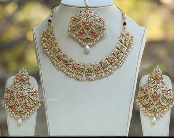 3e4c7c66a Gold Finished Emerald Rubby Pearl Jadau Necklace Set | Punjabi Traditional  Jewellery Exclusive