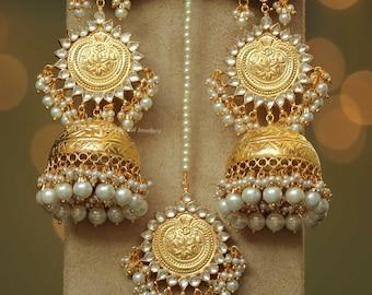 8f4c68348 Gold Finished Jhumki Pearl Kundan Patra Earrings & Tikka Set   Punjabi  Traditional Jewellery Exclusive