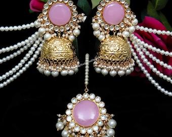Monk Jhumki With Kundan /& Pearl by Punajbi Traditional Jewellery