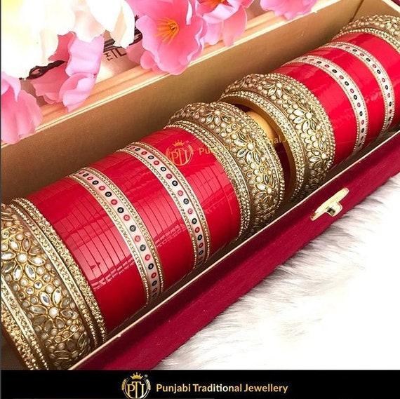 Red Wedding Chura With Kundan Bangles By Punjabi Traditional Etsy
