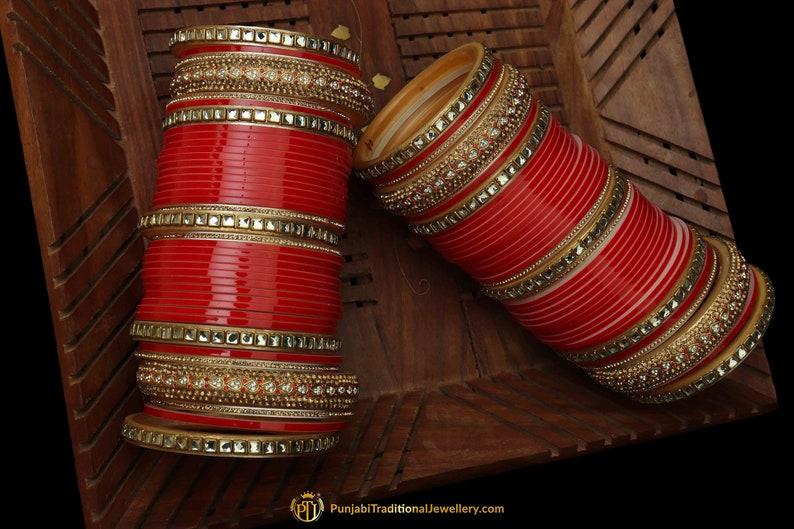 Red Color Kundan/Jerkan Wedding Bridal Chura By Punjabi Traditional  Jewellery