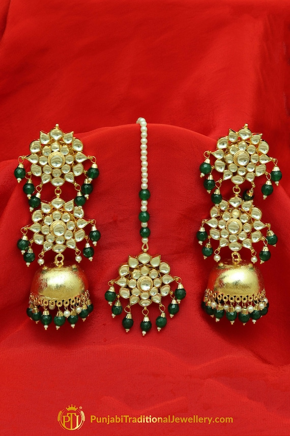 05127cbe6 Hoor Gold Finished Pearl Emerald Jhumki Earrings Punjabi   Etsy