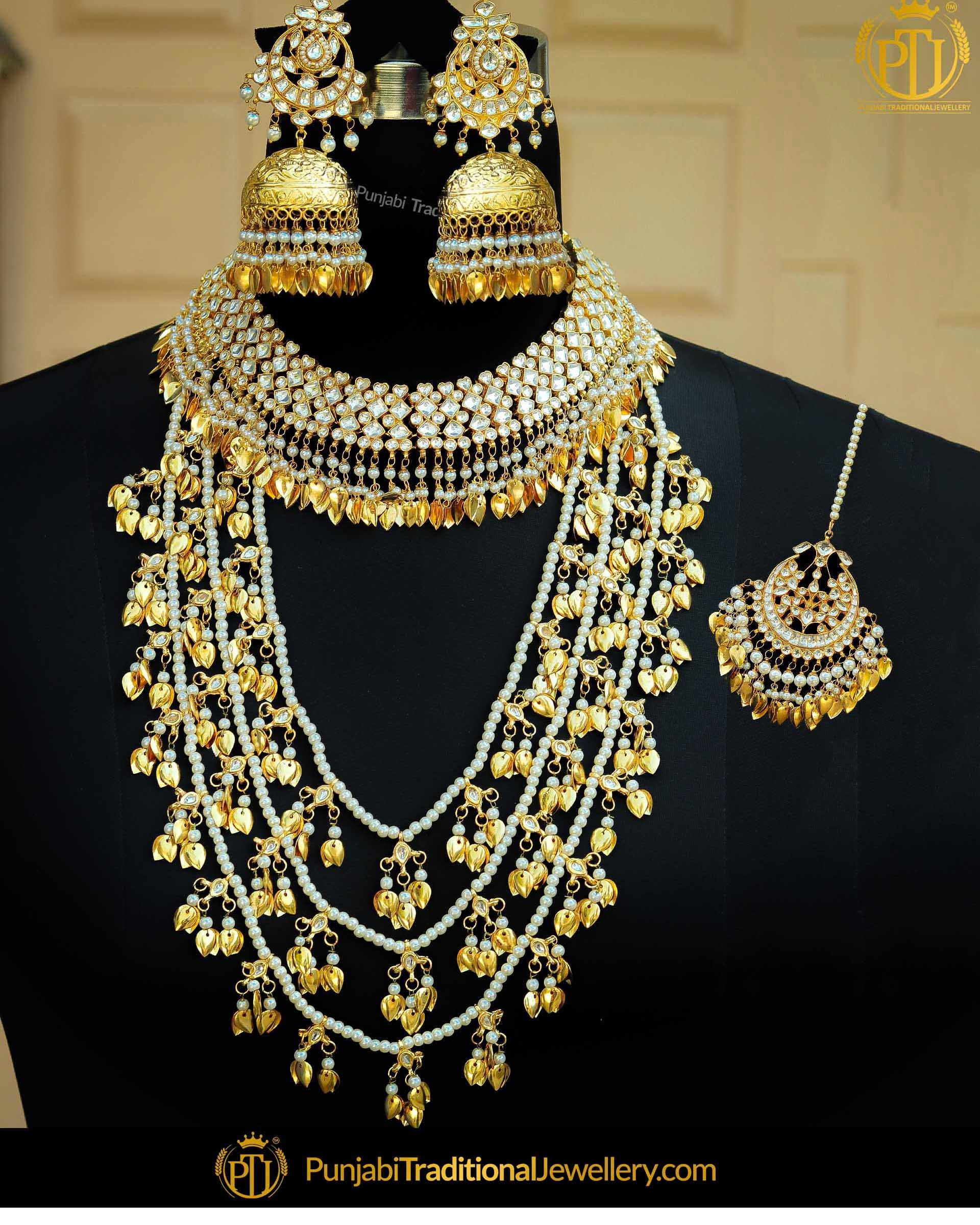 a6c4dd892b18f Gold Finished Kundan Pippal Patti Pearl Bridal Necklace Set | Punjabi  Traditional Jewellery Exclusive